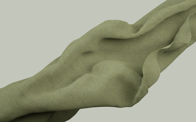 3d rendering illustration of soft cloth earthy green material on flat background