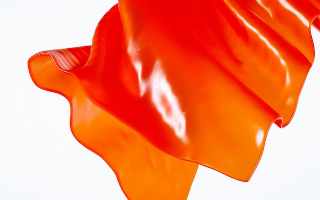 3d rendering illustration of soft transparent cloth drapery orange material  white background.
