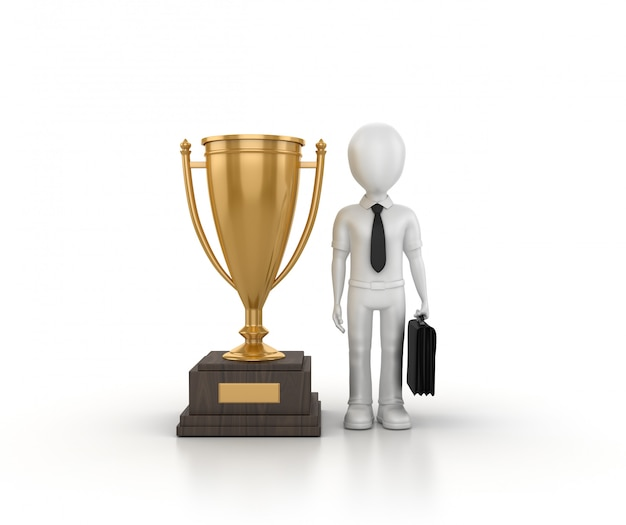 3d rendering illustration of trophy with cartoon business person