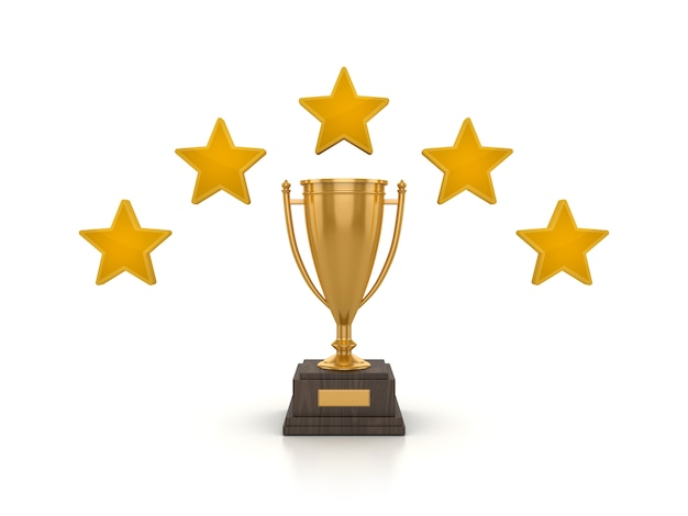 3d rendering illustration of trophy with stars