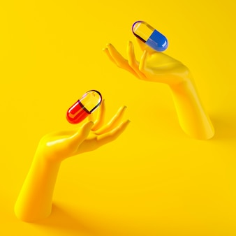 3d rendering illustration of two hands holding different pills capsules