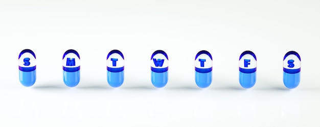 3d rendering illustration of week set of pill capsules. daily time table template.