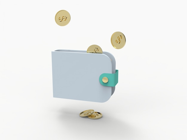 지갑, credin 카드와 동전 달러와 3d 렌더링 그림