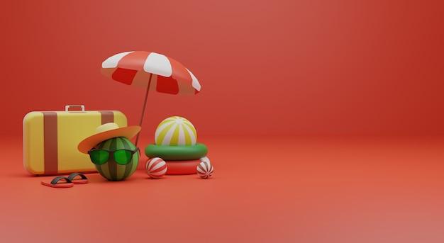 夏をテーマにした3dレンダリングイラストプレミアム写真