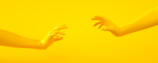 3d rendering illustration of yellow hands. human body parts.