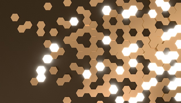 3d rendering image of hexagon shape background