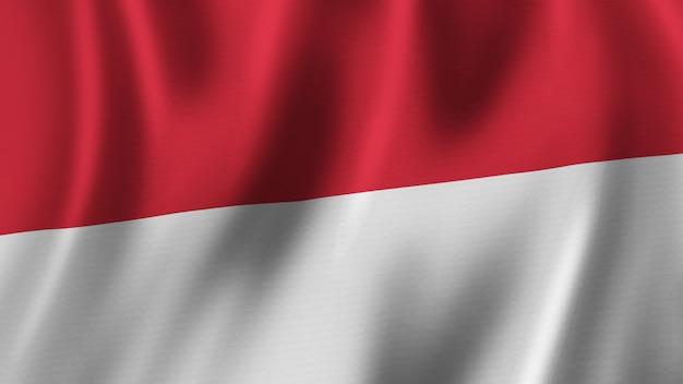 패브릭 상세한 질감 고품질 이미지 렌더링과 실크의 3d 렌더링 인도네시아 국기