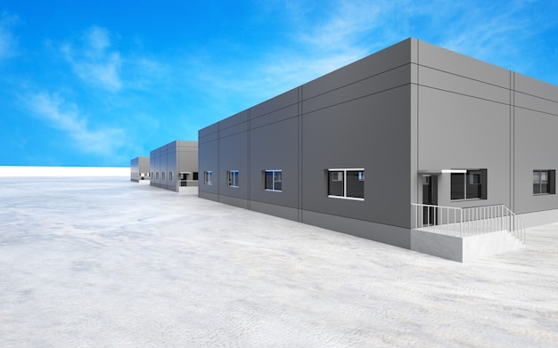 3d rendering. industrial plant with beautifull sky