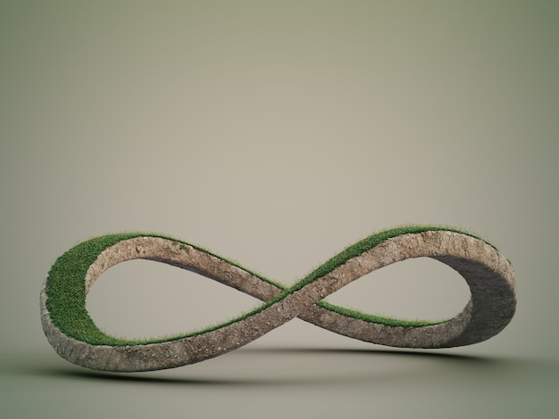 3d rendering of infinity symbol in environmental conservation concept