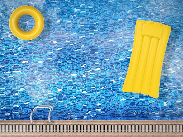 3d-рендеринг надувных игрушек, плавающих на вид сверху на бассейн