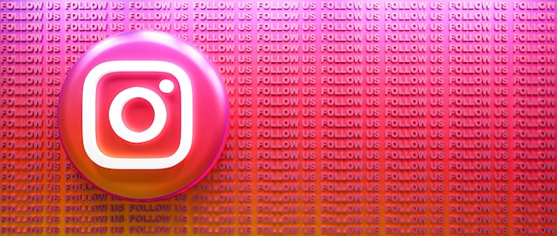 텍스트 배경을 따라 3d 렌더링 instagram 로고