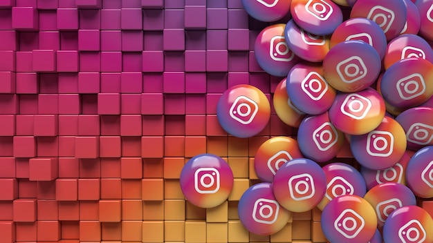 3d rendering of instagram pills over a colorful gradient geometric background