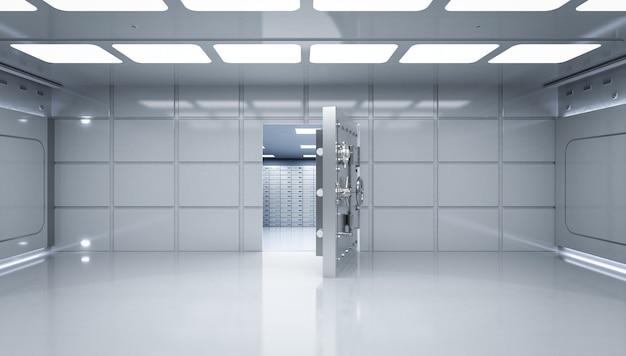 3d рендеринг внутреннего банковского хранилища с дверным замком