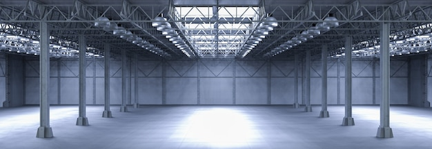 3d rendering interior empty factory in panorama shot