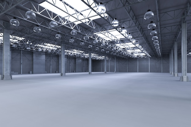3d rendering interior empty factory with pendant lamps