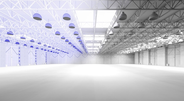 3d rendering interior empty factory with wireframe