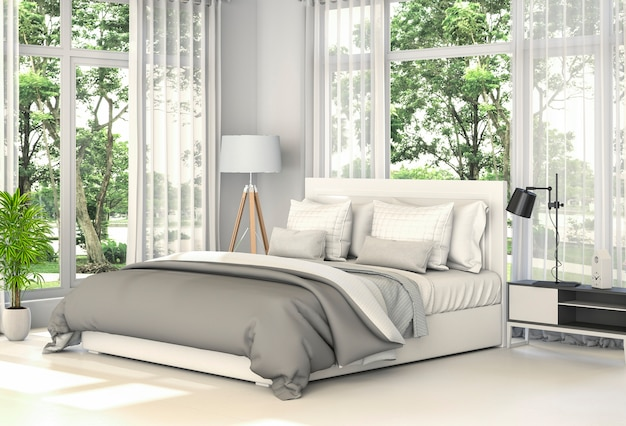 3d rendering of interior modern bedroom,