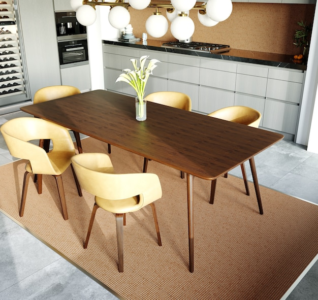 3d rendering. interior of a modern dining room with a mosaic on the wall. ceramic mosaic of gold and brown colors. wooden table with modern chairs