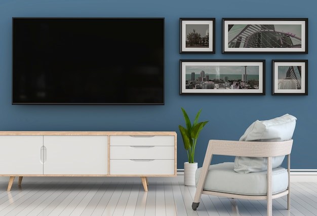 3d rendering of interior modern living room with smart tv, cabinet, armchair.
