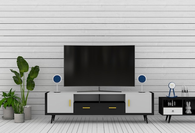 3d rendering of interior modern living room with smart tv, cabinet, and decorations.
