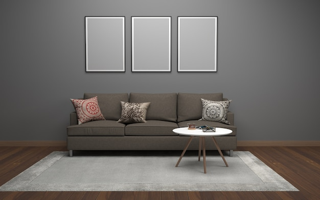 3d rendering of interior of modern living room with sofa - couch and table
