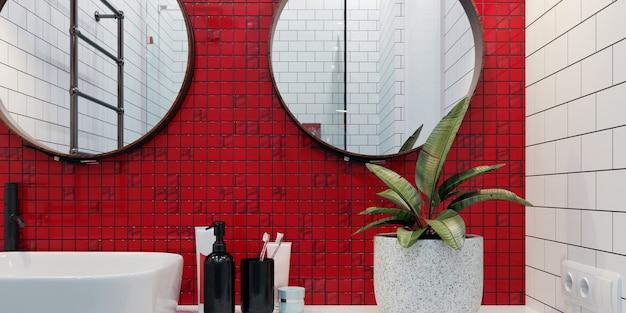 3d 렌더링. 벽에 빨간색과 흰색 모자이크가있는 현대적인 욕실 인테리어.