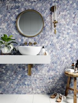 3d 렌더링. 파란색 음영의 육각형 모자이크가있는 벽이있는 현대적인 욕실 내부.