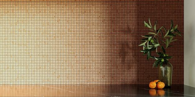 3dレンダリング。壁にモザイクが施されたモダンなキッチンのインテリア。ゴールドとブラウンのセラミックモザイク。コピースペース
