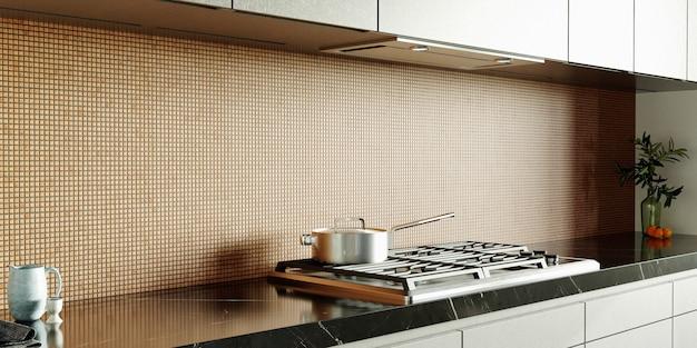 3dレンダリング。壁にモザイクが施されたモダンなキッチンのインテリア。ゴールドとブラウンのセラミックモザイク。