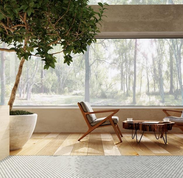 3d-рендеринг. интерьер современной гостиной-студии с журнальным столиком и удобными креслами.
