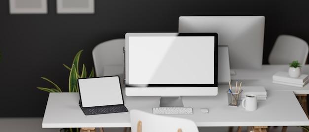 컴퓨터 장치 및 사무 용품 3d 일러스트와 함께 서로 마주하는 두 개의 사무실 책상이있는 3d 렌더링 인테리어 사무실 디자인