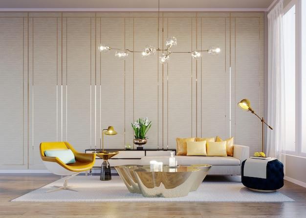 3d 렌더링 내부 장면 및 모형 현대적인 노란색 안락의자가 있는 거실
