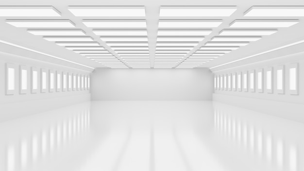 3d rendering interior white and blank factory or warehouse