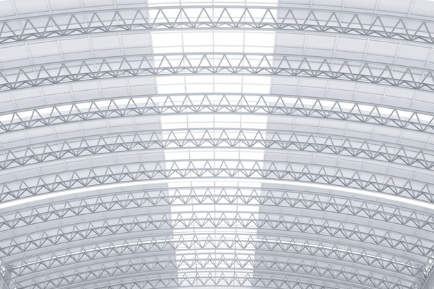 3d rendering interior white and clean factory ceiling