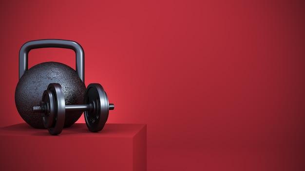 3d rendering. iron fitness equipment in red podium