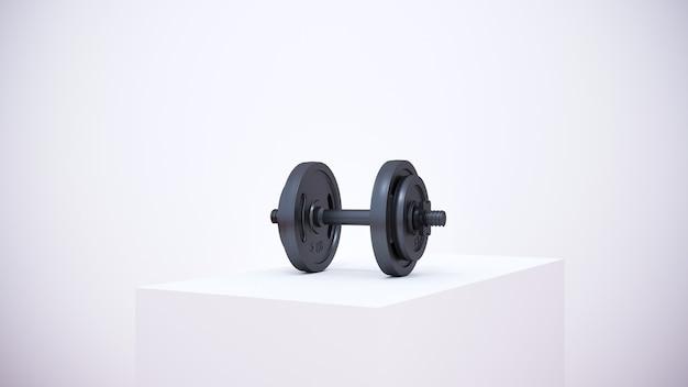 3d rendering. iron fitness equipment in white podium