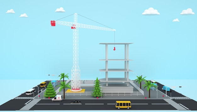 3d rendering of isometric factory building business concept