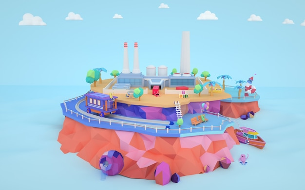 3d rendering of isometric factory building construction on the island