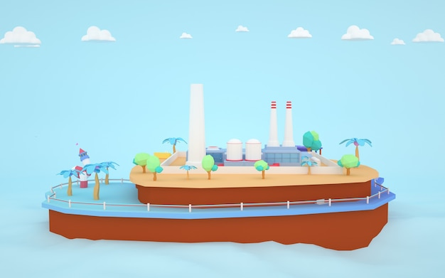 3d rendering of isometric factory buildings on the island