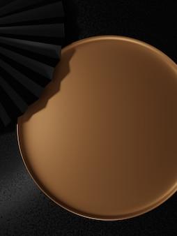 3d 렌더링 일본식 최소 원형 플레이트 뷰티 헬스케어 스킨케어 식품 및 음료 제품에 대한 제품 디스플레이 배경 검정 및 금