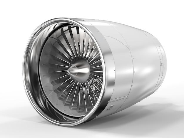 3d рендеринг реактивного двигателя на белом фоне
