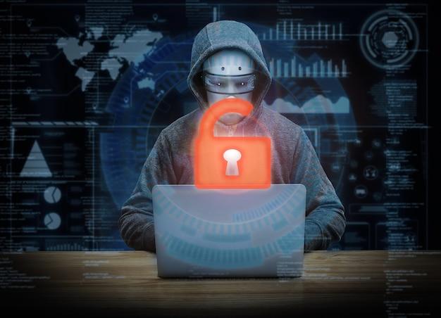3d-рендеринг разблокировки клавиатуры с успехом киборг-хакер