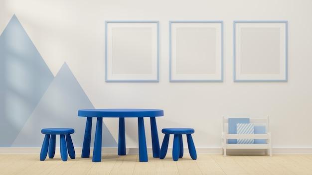 3d-рендеринг дизайна интерьера детской игровой комнаты с синей рамкой макета стульев для круглого стола и книжной полкой 3d-иллюстрация