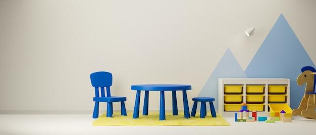 3d-рендеринг, дизайн интерьера детской игровой комнаты со столом, стульями, полкой, игрушками и игрушками, 3d-иллюстрация