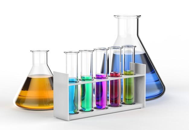 3d-рендеринг лабораторной посуды с разноцветной жидкостью на белом фоне