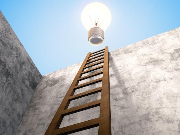 3d-рендеринг лестницы, опирающейся на цементную стену с сияющей лампочкой наверху