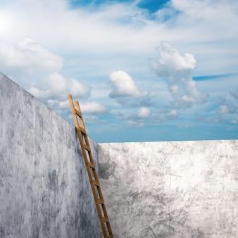 3d рендеринг лестницы, опирающейся на цементную стену