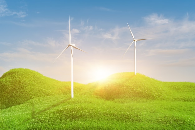 3d rendering landscape with wind turbines in green field over blue sky background.