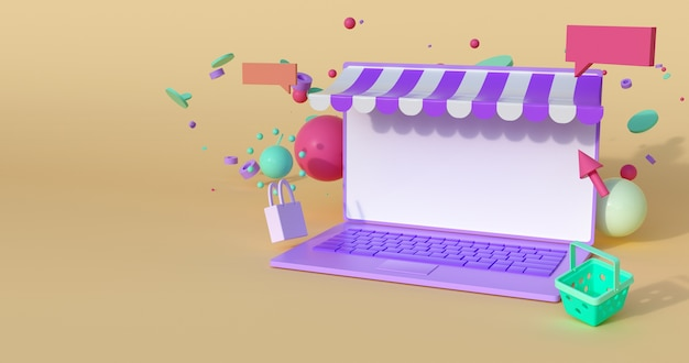3d rendering of laptop and geometric.