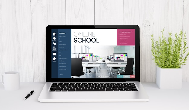 3d rendering of a laptop with online school on table